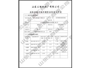 危險廢物污染環境防治信(xin)息(xi)公開表